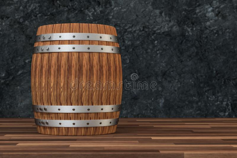 Wooden winery barrel with dark rust background, 3d rendering vector illustration