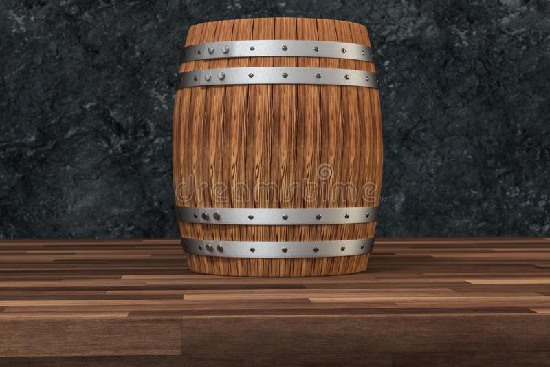 Wooden winery barrel with dark rust background, 3d rendering. Computer digital background bucket old container rustic retro handmade ancient rural isolated royalty free illustration