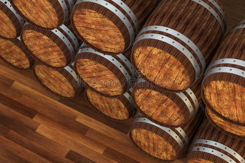 Wooden winery barrel with warm color background, 3d rendering. Computer digital background bucket old vintage container rustic retro handmade ancient rural stock illustration