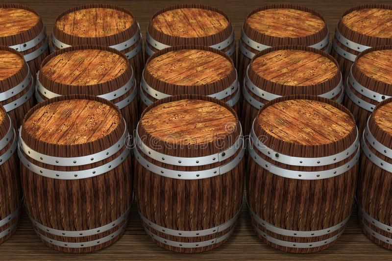 Wooden winery barrel with warm color background, 3d rendering. Computer digital background bucket old vintage container rustic retro handmade ancient rural vector illustration