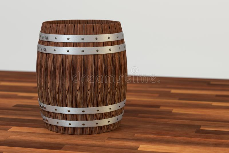 Wooden winery barrel with white background, 3d rendering. Computer digital background bucket old vintage container rustic retro handmade ancient rural pail vector illustration