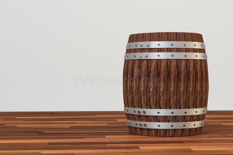 Wooden winery barrel with white background, 3d rendering. Computer digital background bucket old vintage container rustic retro handmade ancient rural pail stock illustration