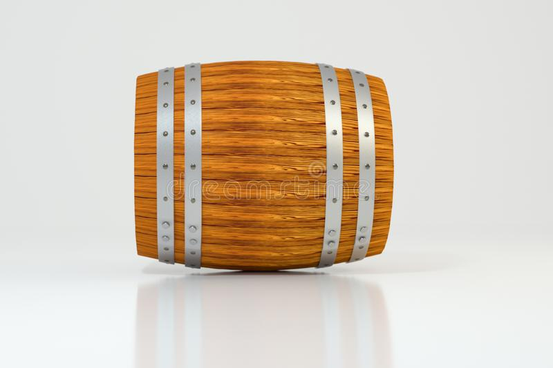 Wooden winery barrel with white background, 3d rendering. Computer digital background bucket old vintage container rustic retro handmade ancient rural pail royalty free illustration