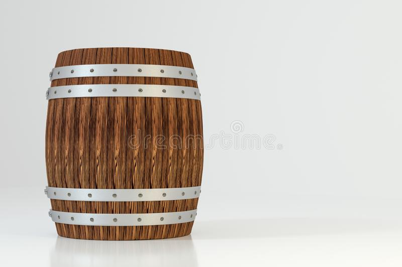 Wooden winery barrel with white background, 3d rendering vector illustration