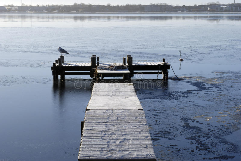Wooden winter bridge stock images
