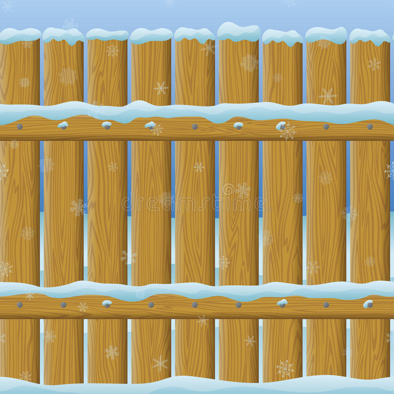 Free Wooden Winter Fence, Seamless Stock Photography - 35447722