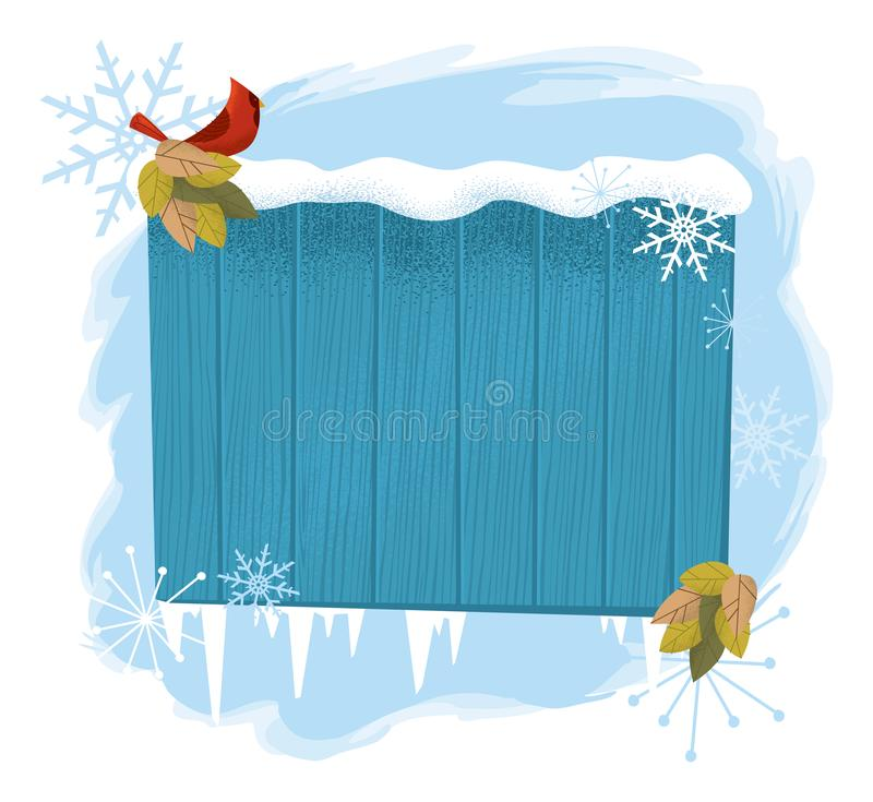 Wooden Winter Sign with Cardinal royalty free stock photography