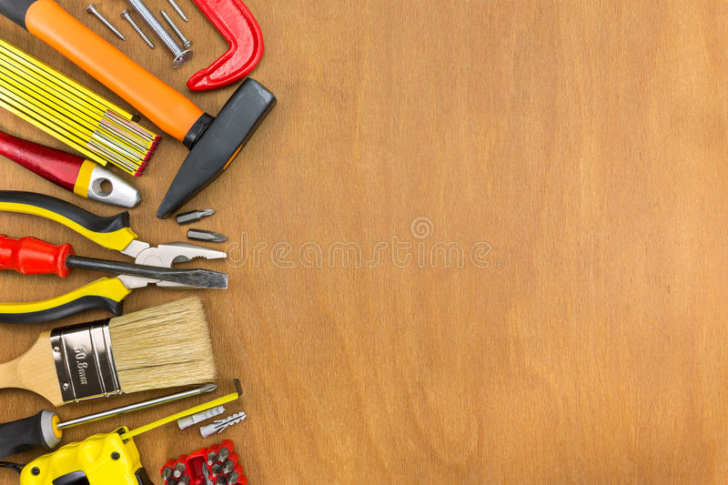 Wooden Workshop Table With Tools Stock Photo - Image of ...