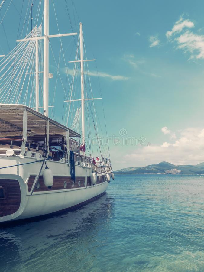 Wooden Yacht In Sea Port, Travel Concept. Water Background stock photography