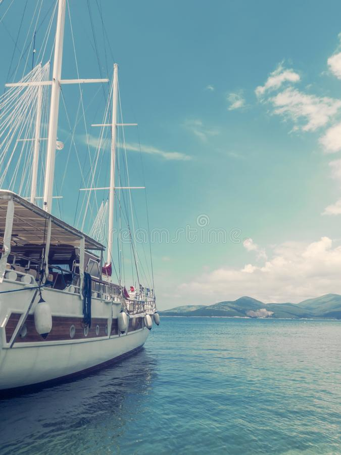 Wooden Yacht In Sea Port, Travel Concept royalty free stock photos