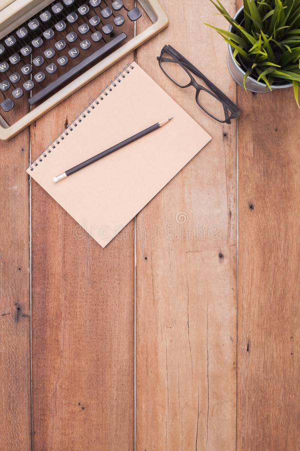 Woodend desk with typewritter stock image