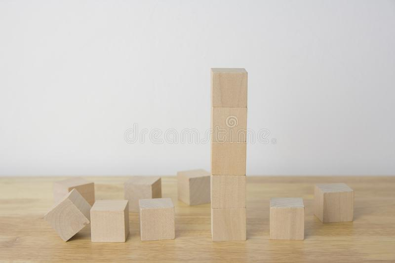 Woodens cubes on table royalty free stock image