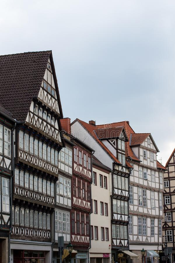 Woodframe houses in downown Hannover, Germany stock photos
