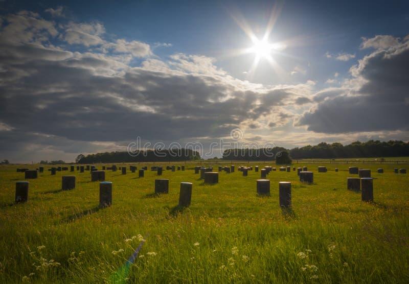 Woodhenge w Wiltshire pod niebieskim niebem obraz stock