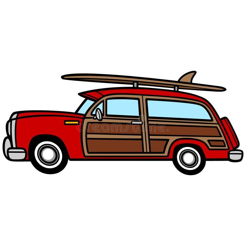 Woodie Surf Wagon ilustração do vetor