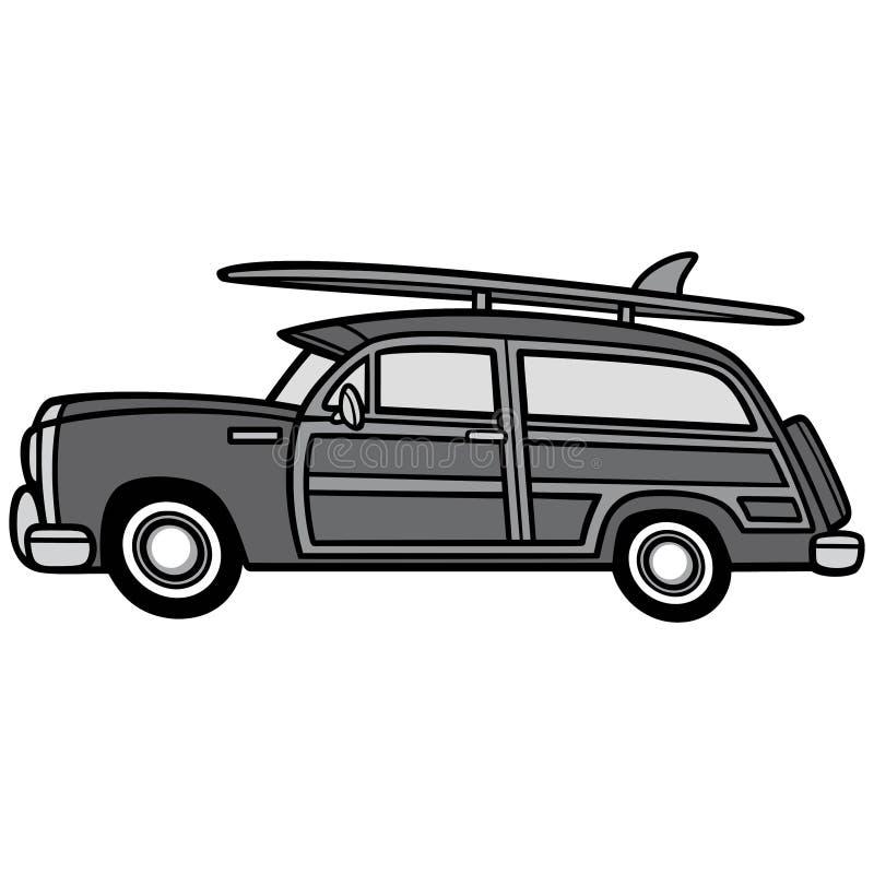 Woodie Surf Wagon Illustration ilustração stock
