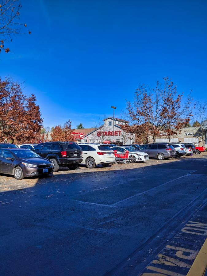 Exterior of Target grocery and house goods store in Woodinville, WA. Woodinville, WA / USA - November 2nd, 2019: Exterior of Target grocery and house goods royalty free stock photos