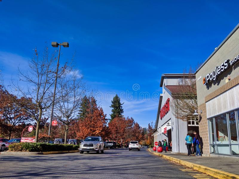 Exterior of Target grocery and house goods store in Woodinville, WA. Woodinville, WA / USA - November 2nd, 2019: Exterior of Target grocery and house goods royalty free stock photo