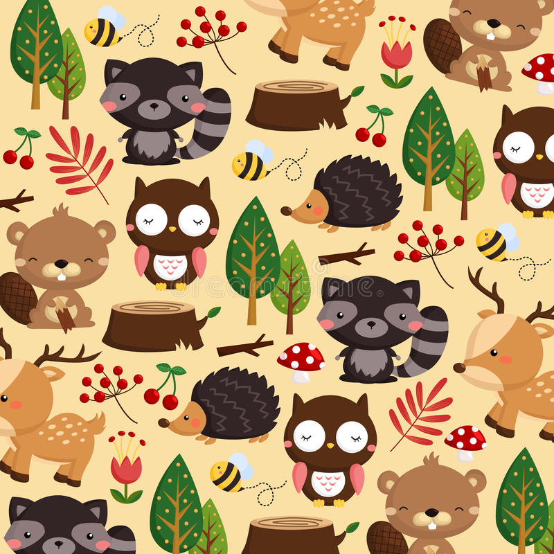 Woodland animal background vector illustration