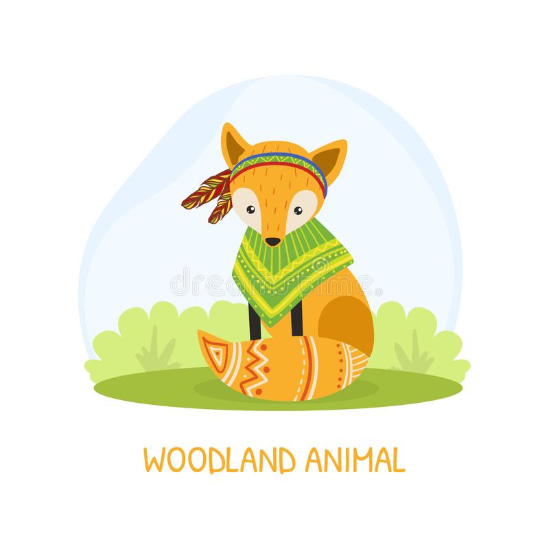 Woodland Animal Banner Template with Cute Ethnic Fox Animal Vector Illustration stock illustration