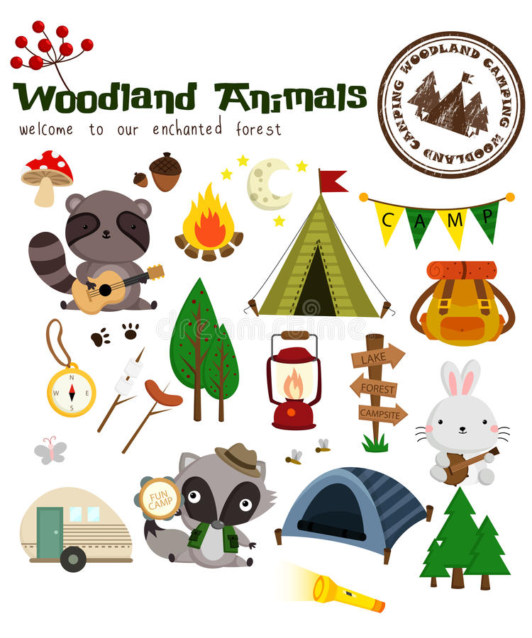Woodland animal camping vector set stock illustration