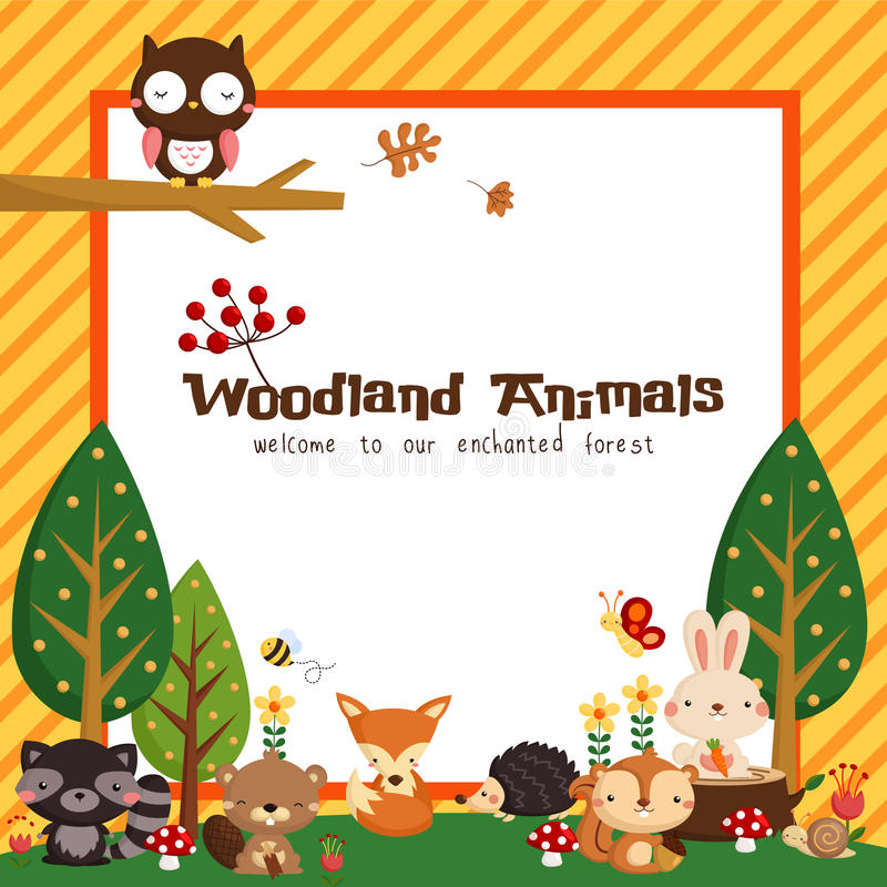 Woodland animal card stock illustration