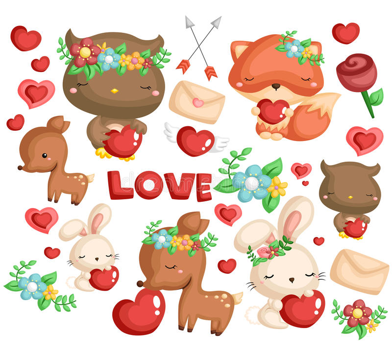 Woodland animal love. Woodland animal vector with hearts and flower stock illustration