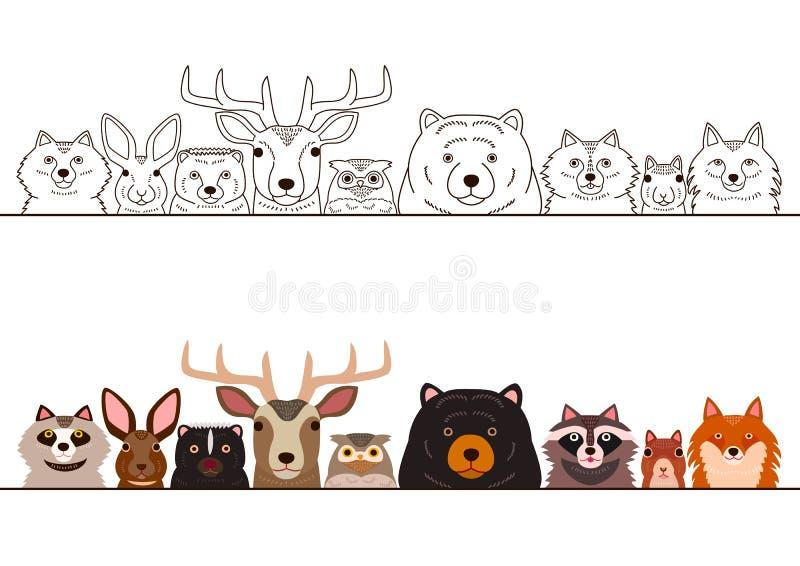 Woodland animals border set. Various woodland animals border set vector illustration