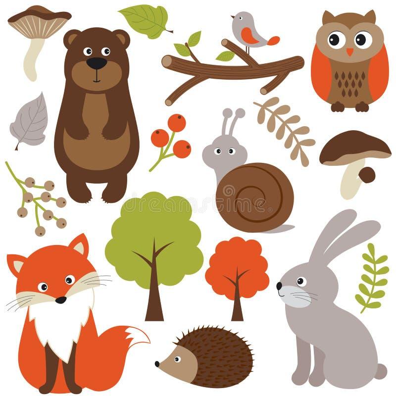 Woodland animals. Christmas woodland animals and birds stock illustration