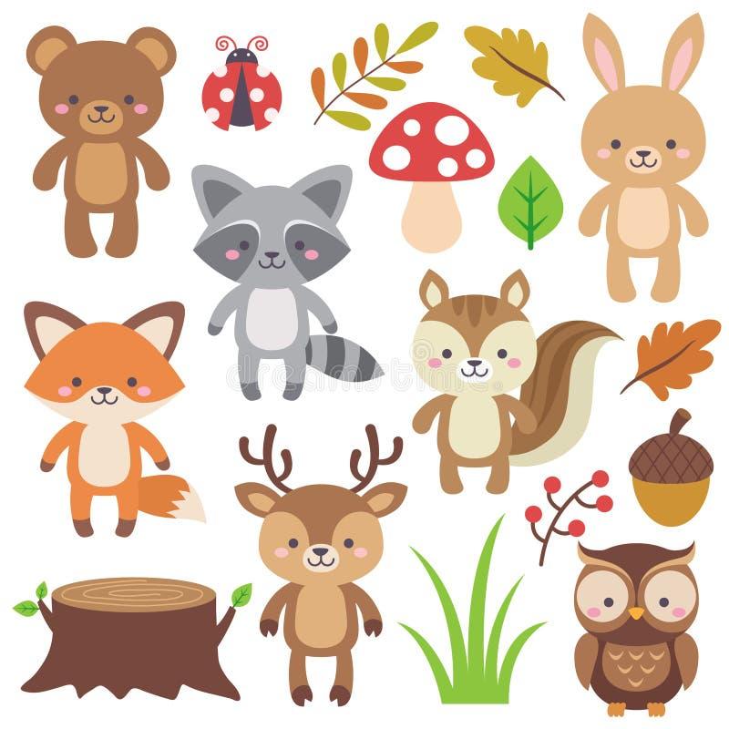 Woodland Animals. Cute woodland animals clipart elements vector set. Illustration vector in cartoon flat style stock illustration