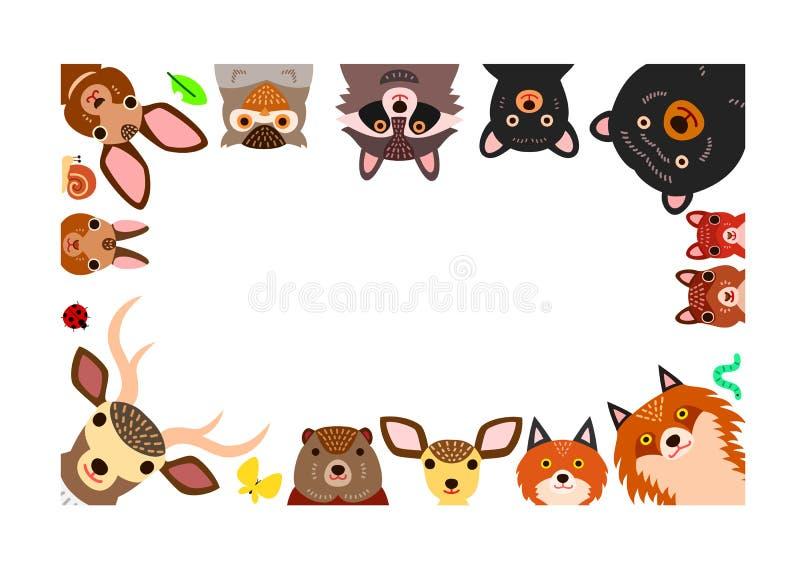 Woodland animals frame, isolated on white. Cute woodland animals frame, isolated on white royalty free illustration