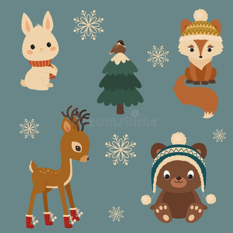 Woodland animals winter time. White bunny/rabbit, fox, sparrow o. Woodland animals in winter time. Bunny, fox, deer and bear near Christmas tree with sparrow vector illustration