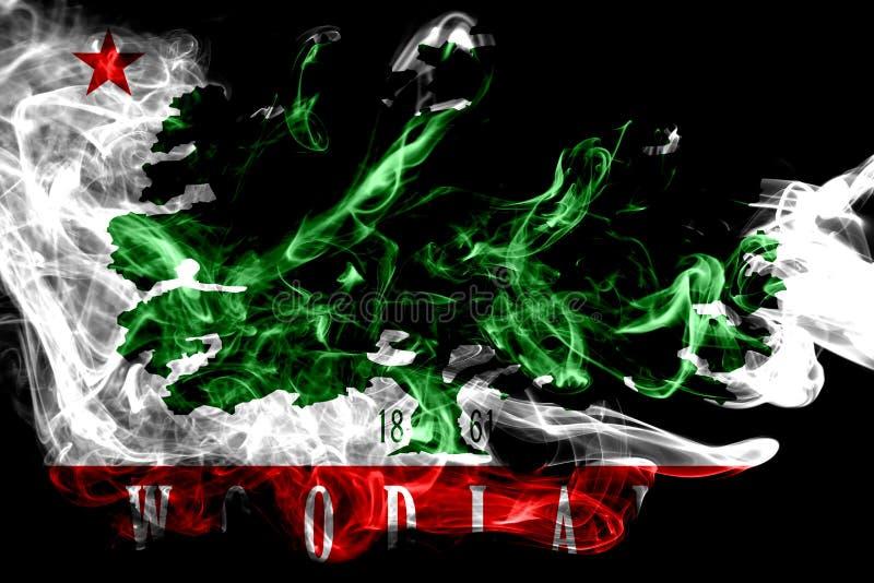 Woodland city smoke flag, California State, United States Of America.  royalty free stock image