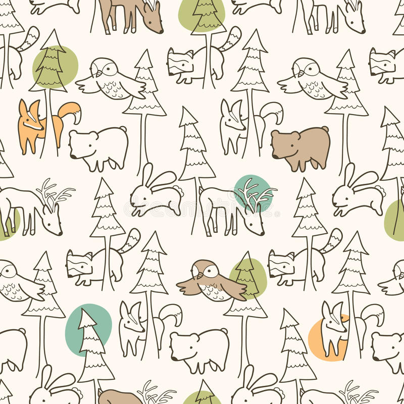 Woodland Creatures Pattern. Seamless pattern of woodland creatures stock illustration