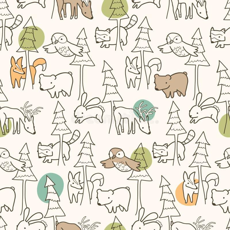 Woodland Creatures Pattern stock illustration