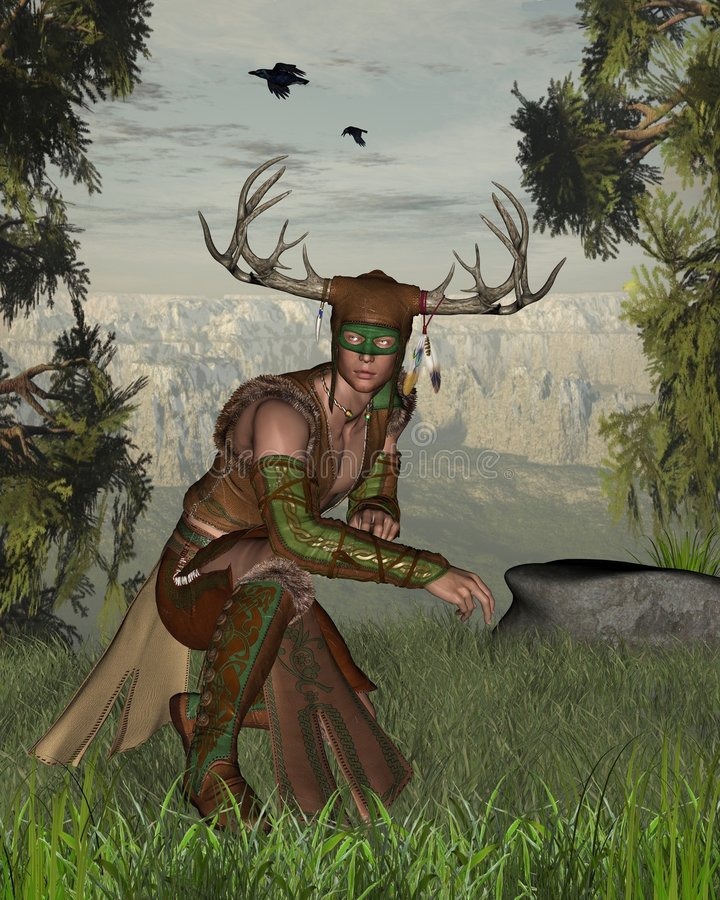 Woodland Deity. Digital render of a horned woodland nature god at the edge of a forest stock illustration