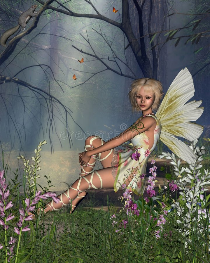 Woodland Fairy. Digital render of a fairy sitting in a woodland glade stock illustration