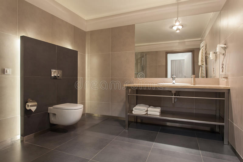 Woodland hotel - Modern bathroom. Woodland hotel - Interior of a modern grey bathroom royalty free stock photo