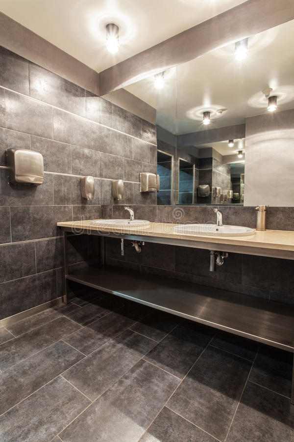 Woodland hotel - Public bathroom. Woodland hotel - Bathroom with two wash basins royalty free stock image