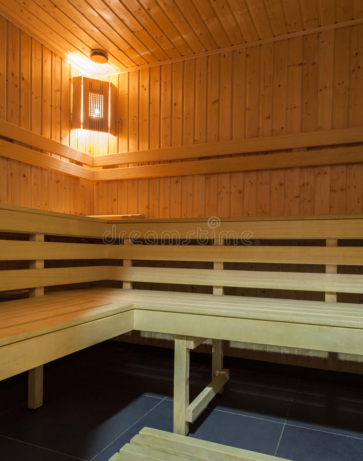 Download Woodland hotel - Sauna stock image. Image of bench, care - 28834387