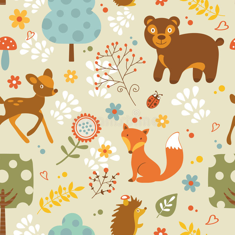 Woodland pattern. Colorful woodland animals seamless pattern royalty free illustration