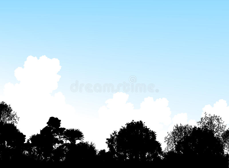 Download Woodland treetops stock vector. Image of clouds, weather - 9862976