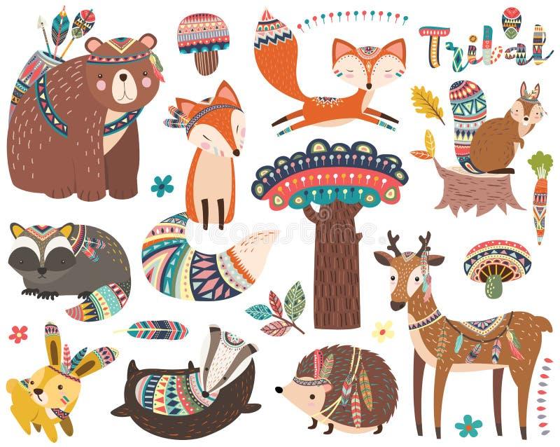 Woodland Tribal Animal Collections Set stock illustration