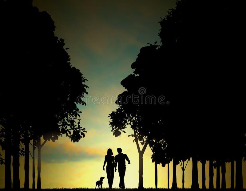 Woodland walkers stock illustration