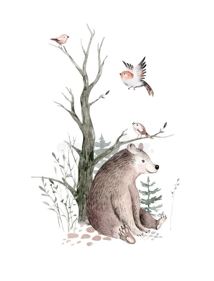 Free Woodland Watercolor Cute Animals Baby Bear. Scandinavian Bear Orest Nursery Poster Design. Isolated Charecter Stock Images - 196588324