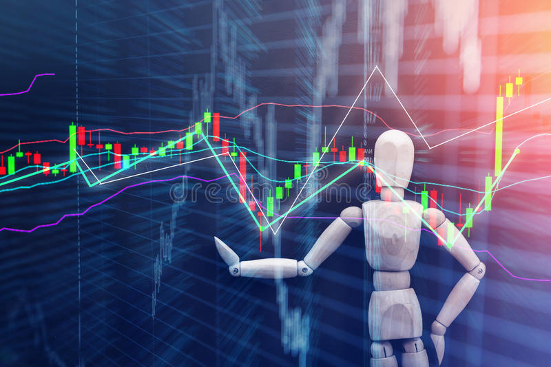 Woodman and stock chart background. Wood man figure presenting and showing stock chart on color background stock images