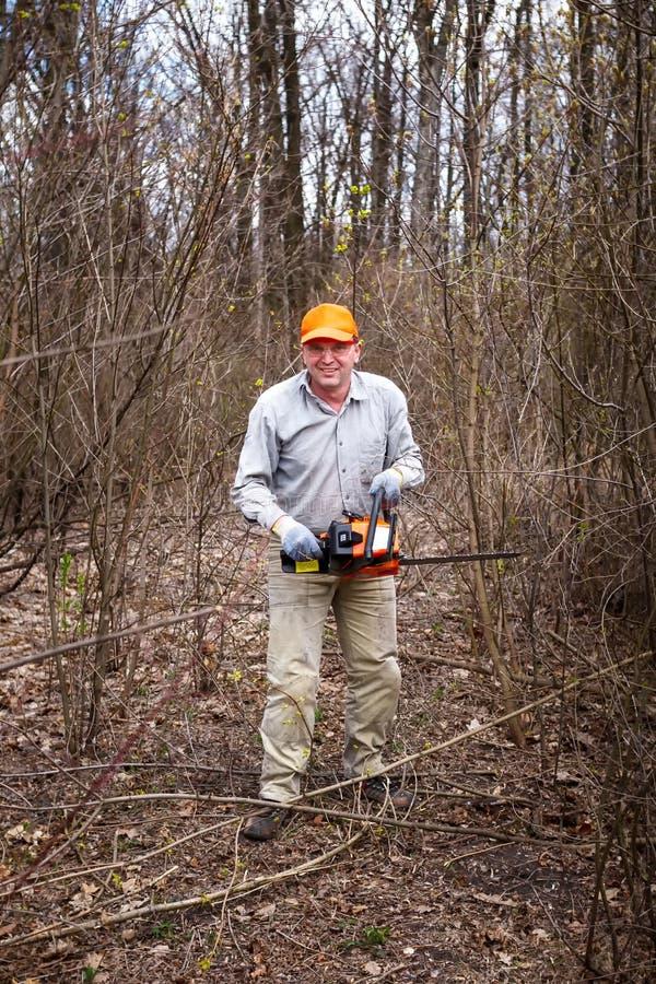 Download Woodman Utilise Sa Tronçonneuse A Coupé L'arbre Image stock - Image du vert, lumber: 56476557