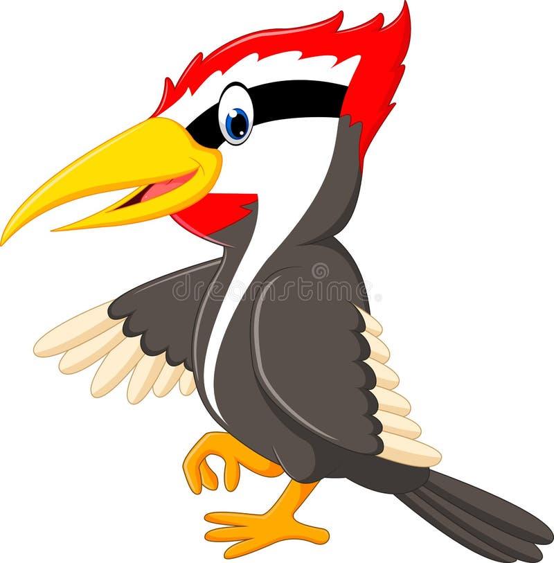 Woodpecker bird cartoon vector illustration