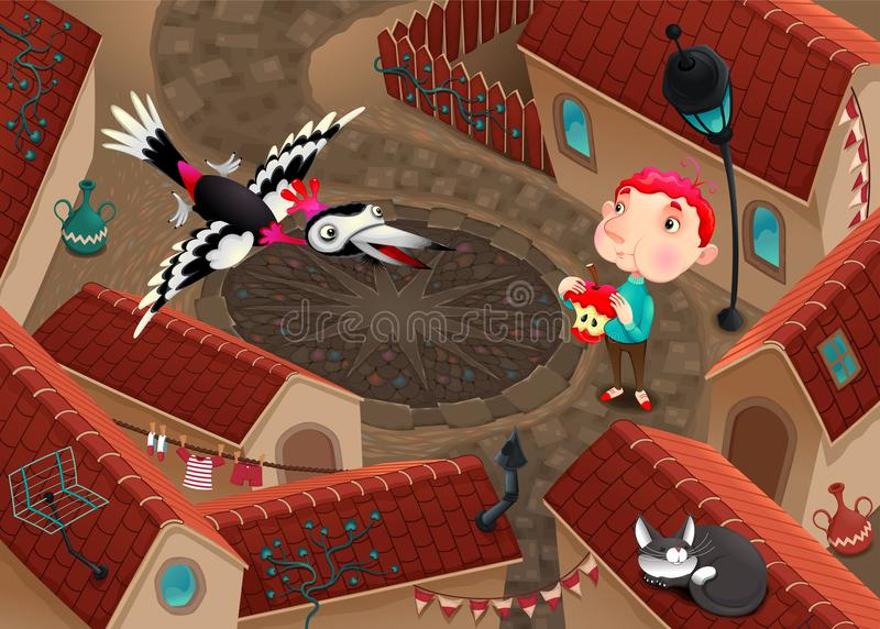 The woodpecker and boy with apple stock illustration
