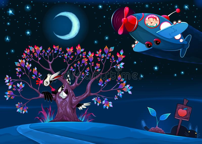 The woodpecker is saying hello to the airplane in the night stock illustration